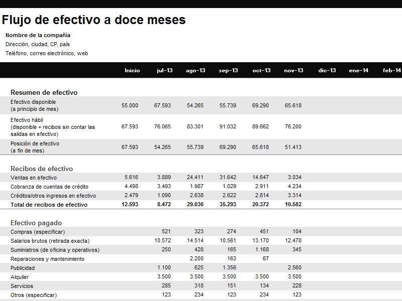 Excel Estado de flujo de efectivo de 12 meses Informtica Educativa