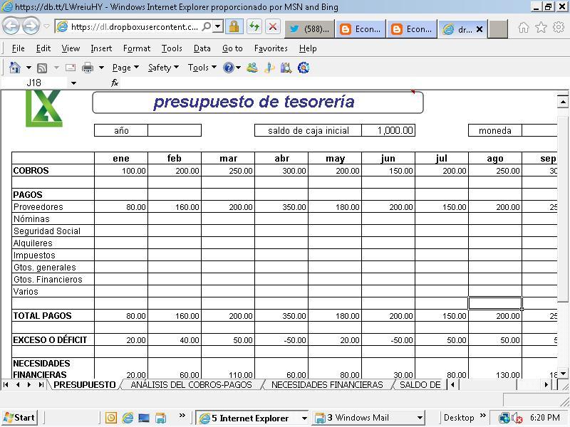Excel an lisis del presupuesto de tesorer a de la empresa for Presupuesto para una pileta de material